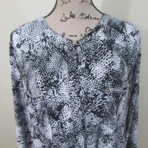 Dana Buchman Womans Blouse XL Black White